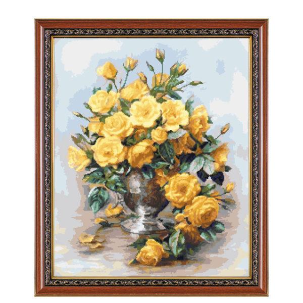 """Гоблен """"Жълти рози в сребърна ваза"""", Алберт Уилиамс"""