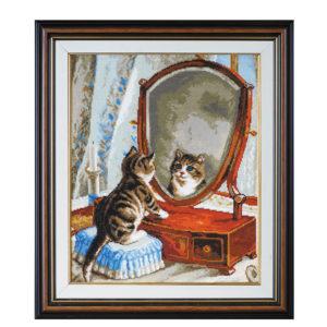 """Гоблен """"Коте и огледало"""" - по картина на Франк Пейтън"""