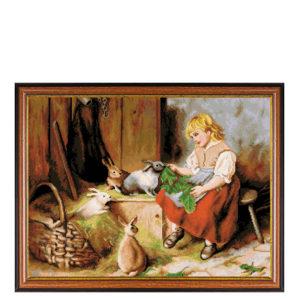 """Гоблен """"Момиче и зайчета"""""""