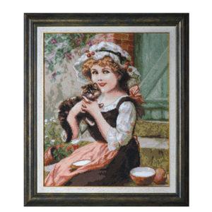 """Гоблен """"Момиче с коте"""" - по картина на Емил Вернон"""