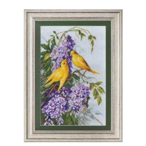 """Гоблен """"Пиленца и лилави цветя"""" - по картина на Мери Голей"""