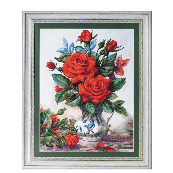 "Ушит гоблен ""Червени рози""- худ. Алберт Уилиамс - рамкиран гоблен, конци DMC"