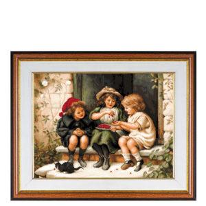"""Гоблен """"Деца ядат вишни"""" - конци DMC"""