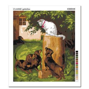 "Щампиран гоблен ""Кученца и коте"" - щампа"