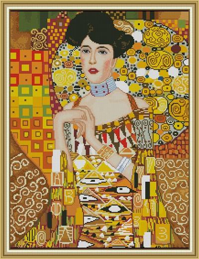 """Комплект кръстат бод """"Портрет на Адел Блох""""- по картина на Густав Климт- конци DMC"""