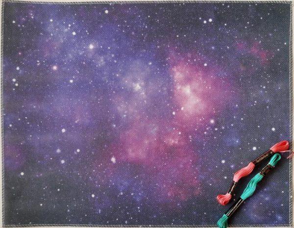 """Цветна печатана панама Аида """"Лилава галактика"""""""