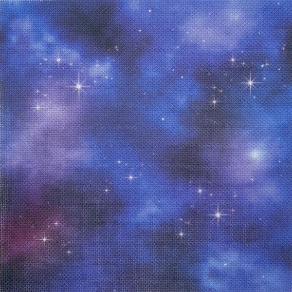 """Цветна напечатана панама Аида """"Синьо лилаво звездно небе"""""""